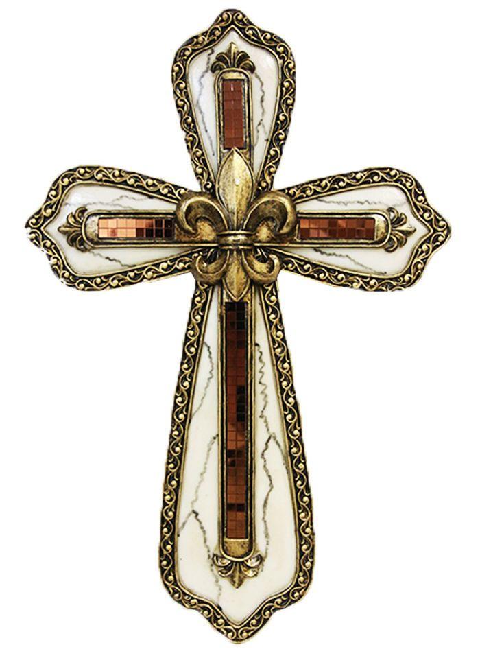 """Rústico Fleur de Lis Cruz de pared mosaico de mármol-Colgante De Pared - 9"""" X .75 """"X 13""""   Objetos de colección, Religión y espiritualidad, Cristianismo   eBay!"""