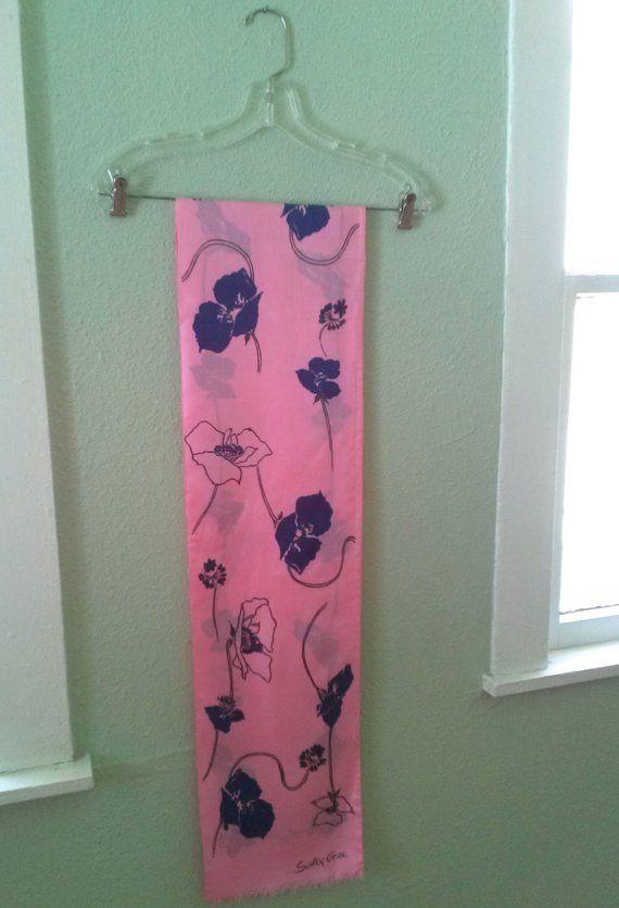 Vintage 1960s Silk Scarf Sash Belt Mod Pink Pop Art Poppies Sally