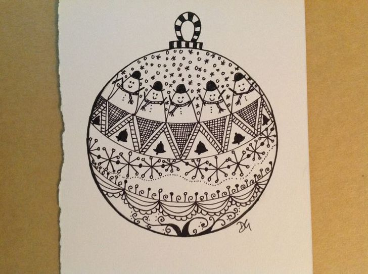 how to draw christmas bauble