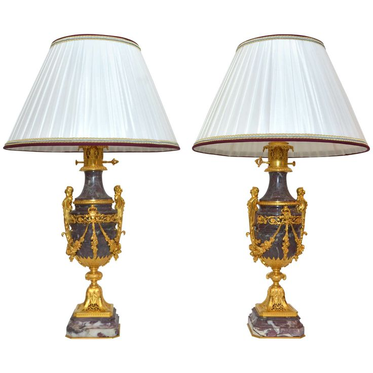246 best moderator lamps images on pinterest bronze lamps and pair of rare marble lamps with sik lamp shade greentooth Image collections