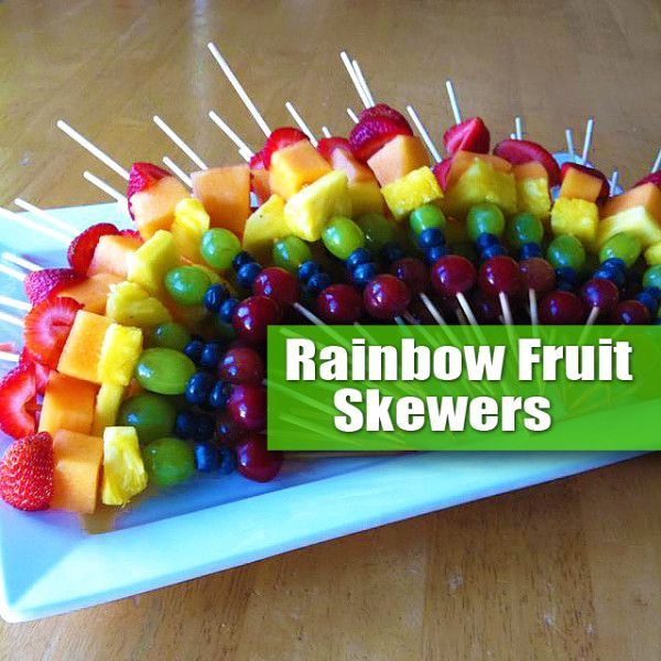 Rainbow Fruit Skewers! Fun, Simple, Easy  Healthy. A great Project for Kids. No Cooking Involved  A Great Option for a Holiday or Party Fruit Platter: The idea of a Rainbow Fruit Kabob is simply to select fruit that matches the colors of the rainbow! Then slide the pieces onto skewers. Try to be consistent with placement so when you fan them out on a platter you get the Rainbow Effect.