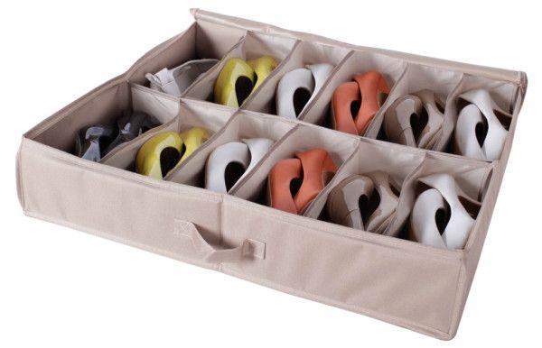 Удобный органайзер для хранения обуви под кроватью, застегивается сверху для защиты от пыли. .