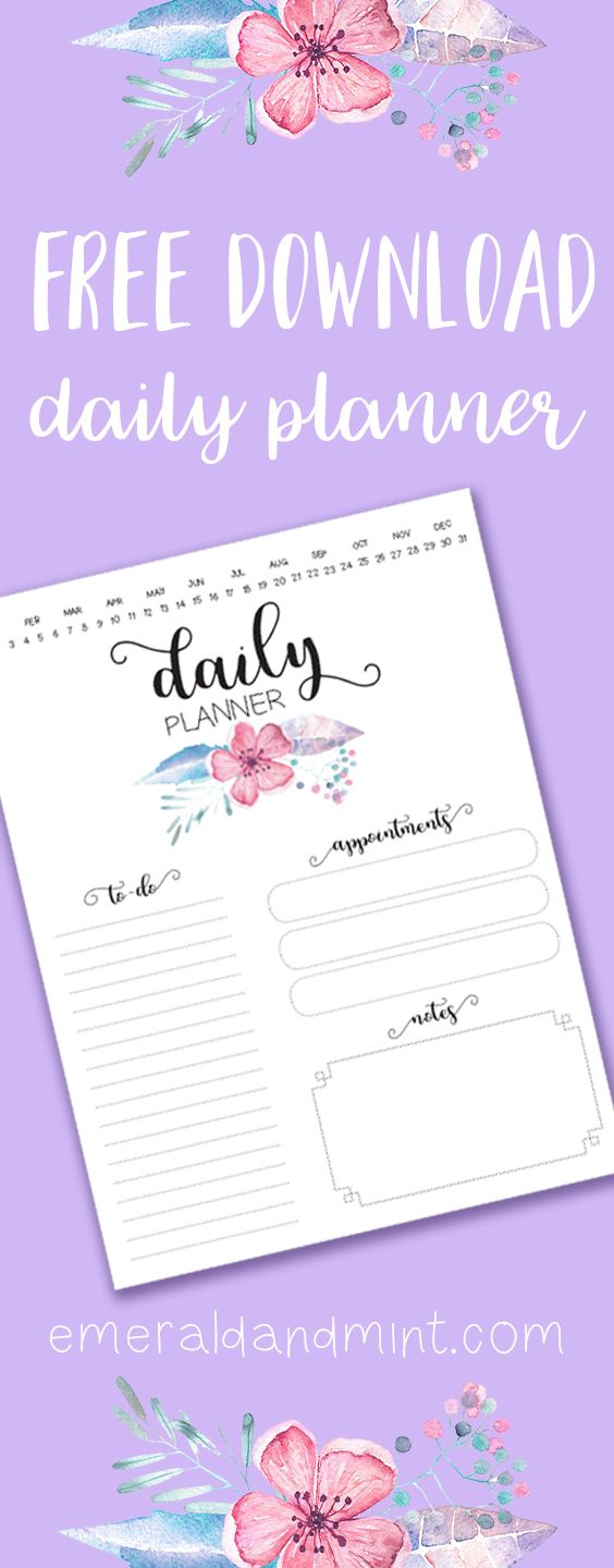 Free Daily Planner Printable, Downloadable Daily Planner, Calendar Download, A4 A5 Planner Inserts