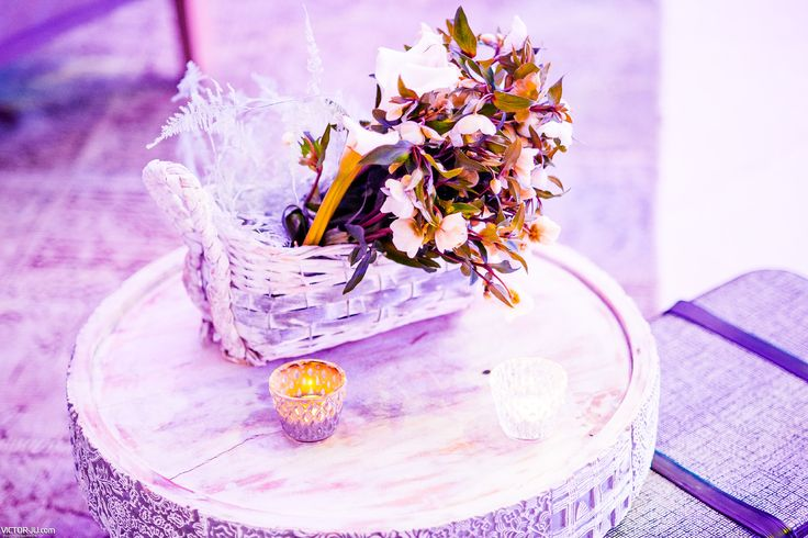 Spray painted white basket of flowers