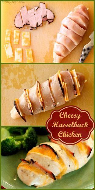 Cheesy Hasselback Chicken - An easy, elegant dinner! #chicken