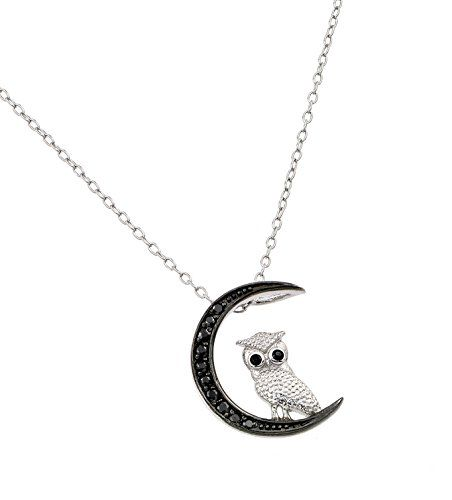 Sterling Silver Rhodium Plated Moon And Owl Slider Necklace With Black Cz Accents 16 Inch Plus 2 Inch Chain Shop4Silver http://www.amazon.com/dp/B00E5MYBI6/ref=cm_sw_r_pi_dp_wRpBvb1BYF52D