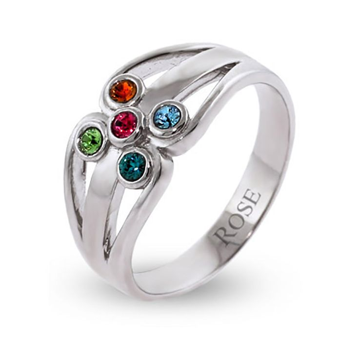 Fine Jewelry Personalized Silver Crystal Birthstone Family Ring tLVIHRkioQ