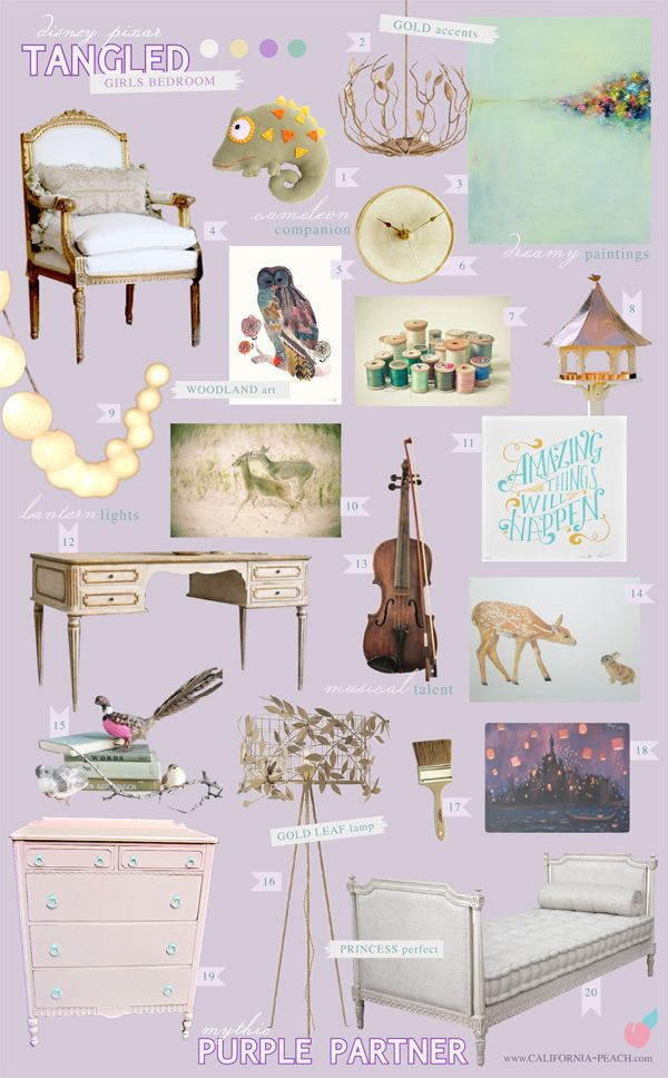 California Peach: Tangled | Girls Bedroom -- Tangled, Rapunzel, Disney, Pixar, Violin, Music, Art, Paint, Chamelion, Pascal, Castle, Tower, French Provincial, Shabby Chic, Toddler Room, Toddler Bed, Twin Bed, Kids, Kid, Nursery, Purple, Gold, Aqua, Teal, Blue, Light, Girl, Feminine, Art, Baby Room, Nursery, Style Board, Mythic Paint, Non-Toxic, Green 0VOC, Eco Friendly, Organic