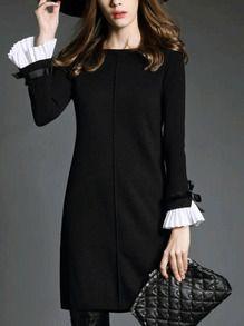 Vestido cuello barco manga larga holgado -negro