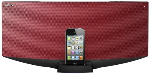 Sony All-In-One Audio System with Dock for iPhone, iPod and iPad - Red - http://digitalentertainment7.co.uk/hifi-system/sony-all-in-one-audio-system-with-dock-for-iphone-ipod-and-ipad-red-2/