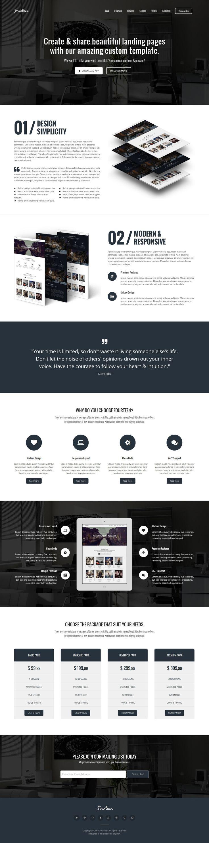 Fourteen – Responsive Landing Page WP Theme #design #wp