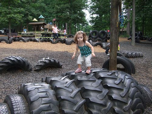 tire art on the playground