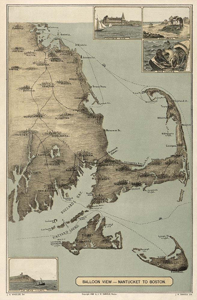 Cape Cod Antique Map Print 1885 136