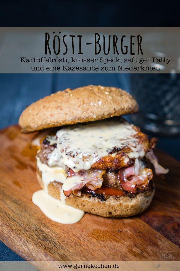 So geht der Burger mit dem Rösti einfach selber: krosser Speck, saftiges Patty, Käsesauce und ein Kartoffelrösti. Zum Rezept hier entlang.