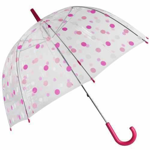 Pink-Polka-Dot-Umbrella-for-Ladies-Clear-Dome-Brolly-Birdcage-Bubble-Safety-Tips