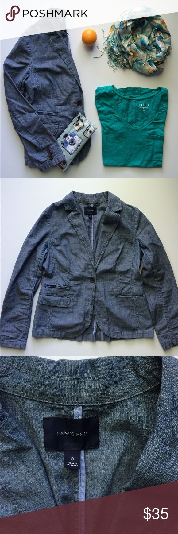 Lands' End Chambray Blazer Lands' End chambray blazer. Perfect for all you denim-heads and chambray enthusiasts! Loved, but in excellent condition. Simply just don't wear blazers anymore so those of you who do should scoop this one up! Lands' End Jackets & Coats Blazers