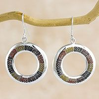 Sterling silver dangle earrings, 'Chiantla Color'