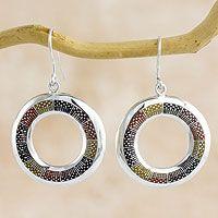 Sterling silver dangle earrings, 'Chiantla Color'