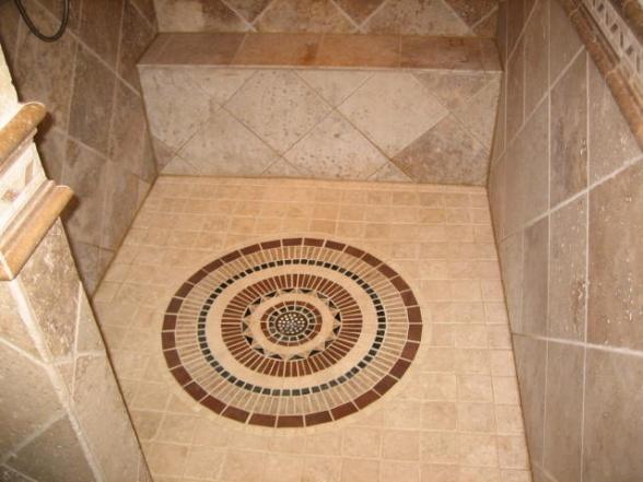 interesting tile feature surrounding the drain
