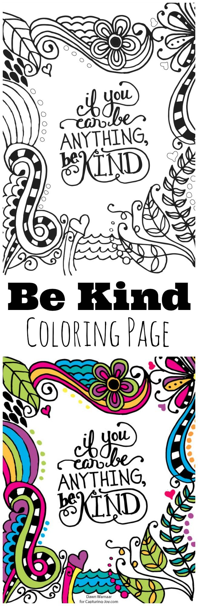 Be Kind Kids Coloring Page, great for kids to help encourage kindness, hang on a mirror to remind them, or home decor. Digital colorful print also available to download.