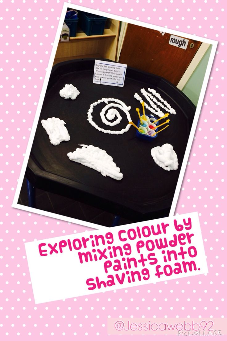 Exploring colour mixing by mixing powder paints into shaving foam.