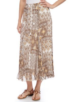 Ruby Rd Women's Coconut Cove Broomstick Skirt - Taupe Multi - Xl