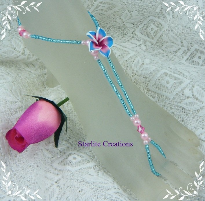 Blue and Pink frangipani Barefoot Sandals