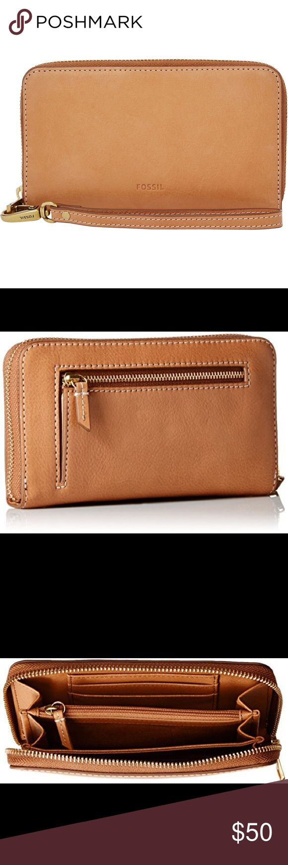 """FOSSIL SMARTPHONE WRISTLET ZIP AROUND WALLET ❤PRICE IS FIRM ❤NWT Fossil Emma Smartphone Wristlet. Will hold iPhone 6s, iPhone 7 in cases and other phones the same size or smaller. Color: Tan Material: Leather . Zip Around . Interior: Middle zipper compartment, cash slots, 3 RFID protected card slots. Exterior coin pocket . Gold tone hardware details . Measurements: 7"""" L 4""""H. Retail: $75. Fossil Bags Clutches & Wristlets"""