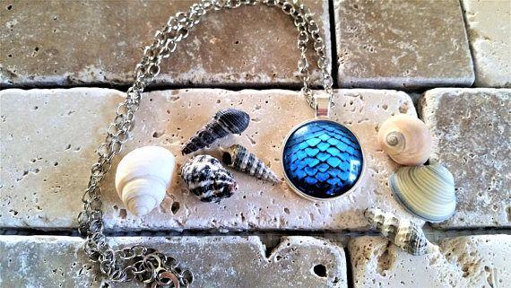 Blue Mermaid/Dragon scales pendant necklace  blue mermaid