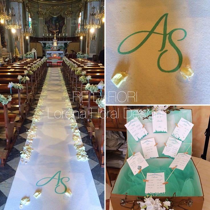 Alessandro e Silvia, matrimonio bianco e verde tiffany.