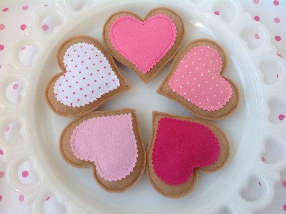 Set of 5 Tea Time Heart Felt Cookies, Tea Party, Tea Time, Kids, Play Food