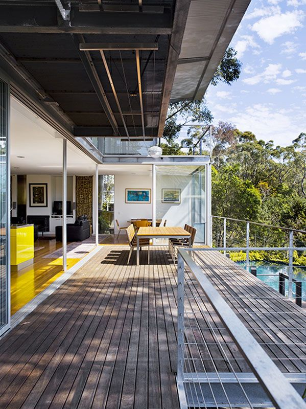 St Ives in Sydney. Built for a family of four, the simple lightweight rectangular form of the house has been designed by Lippman Partnership to take advantage of the available views and orientation, with all the living areas and bedrooms enjoying a northern aspect overlooking Garigal National Park.