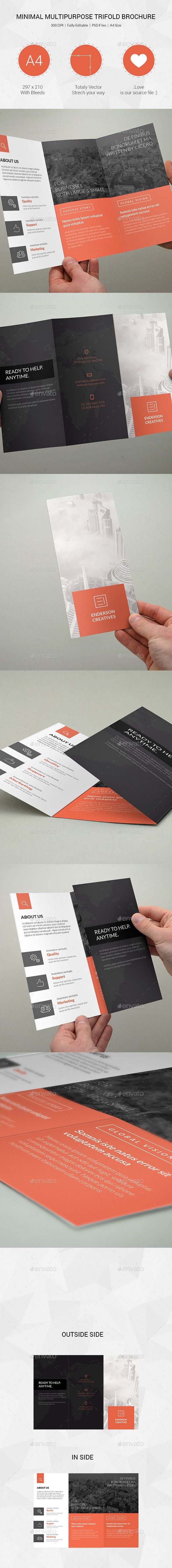Minimal Multipurpose Trifold Brochure Template #design Download: http://graphicriver.net/item/minimal-multipurpose-trifold-brochure-09/11885113?ref=ksioks