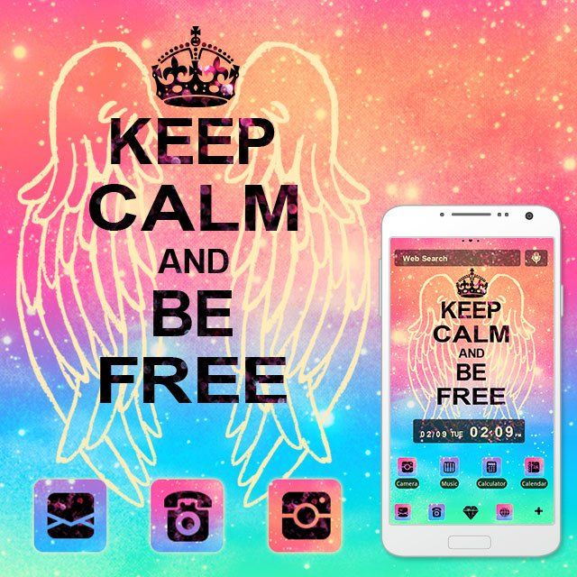 """Keep Calm and Be Free"" Available From:2/15 '16 (EST) The popular phrase is jazzed up in this colorful, glittery theme! http://app.android.atm-plushome.com/app.php/app/themeDetail?material_id=1422&rf=instagram #wallpaper #design #icon #beautiful #plushome  #homescreen #widget #deco"