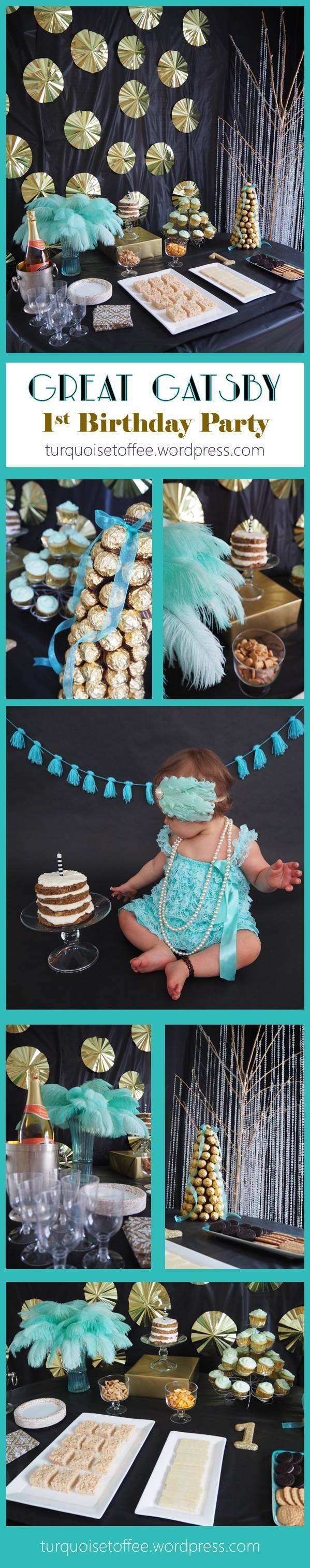 Great Gatsby First Birthday Party Turquoise 1920s cake smash