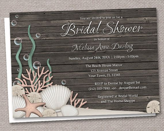 Rustic Beach Bridal Shower Invitations - Printed or Printable - Seashells over Dark Wood - Driftwood background idea for invitations