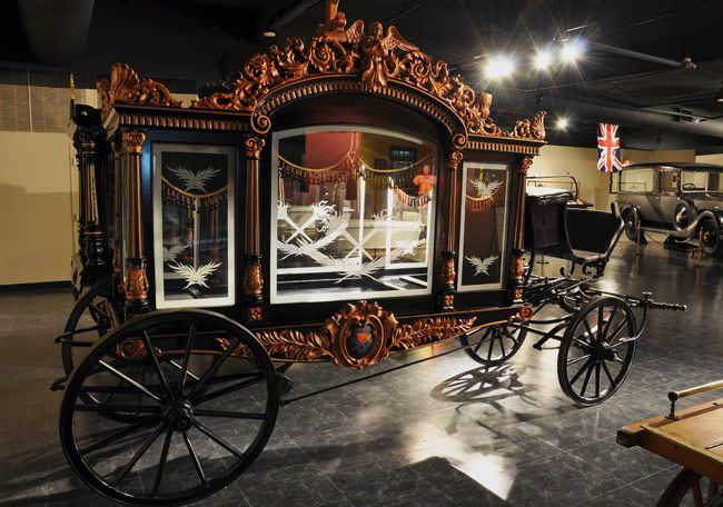 Horse-drawn hearse carriage, made in Germany in 1850 ...