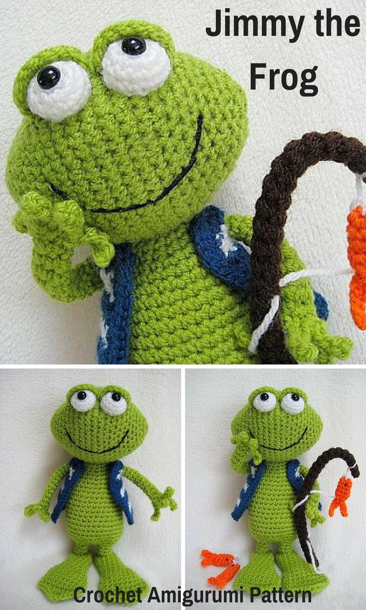 Jimmy the Frog is an adorable crocheted amigurumi doll that loves to go fishing. You can create your own Jimmy the Frog with this downloadable pattern. #crochet #amigurumi #crochetdoll #ad #amigurumidoll #amigurumipattern #frog #instantdownload