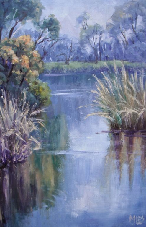 'Day 28 Early Morning - Gateway Sanctuary' There was a soft fog when I first started to paint and it gradually changed to warm sunshine on the still water. The Wattles are still blooming and there were waterbirds swimming about in the reeds.