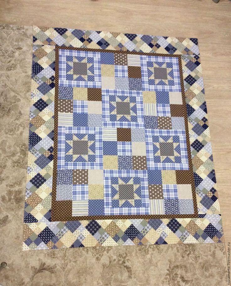 """Купить Лоскутное одеяло """"Вечер"""" - лоскутное одеяло, лоскутное покрывало, лоскутное шитье, голубой, коричневый"""
