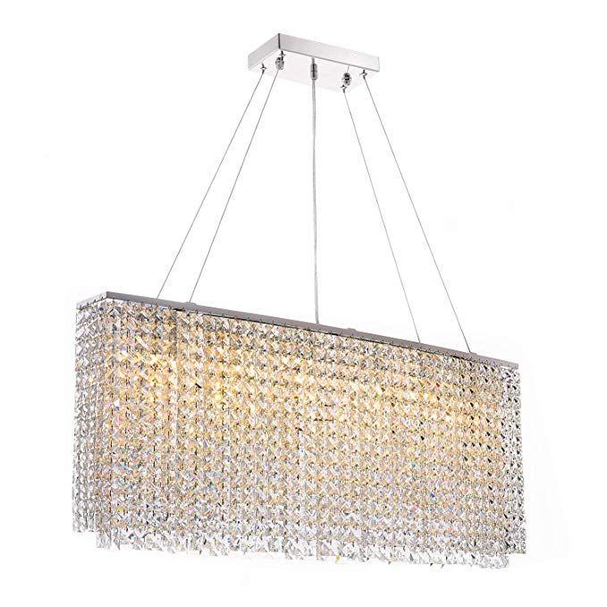 Siljoy Modern Crystal Chandelier Lighting Rectangular Oval Pendant