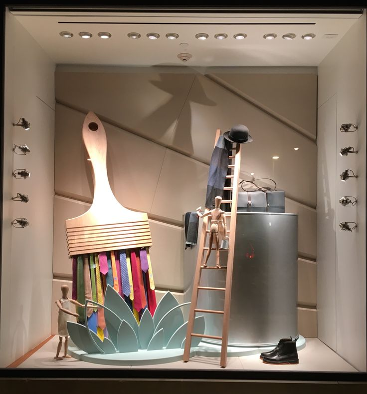 Fabulous holiday 2015 Hermes window display at the Americana shopping center in Manhasset, NY features Hermes ties as the bristles in a paint brush.