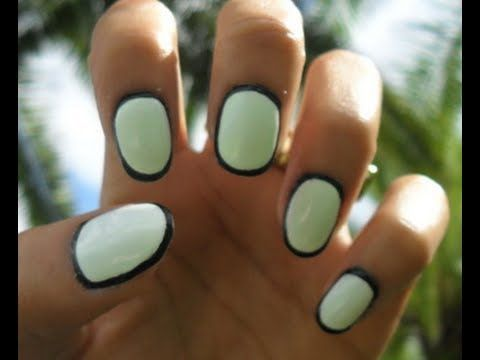 how to border nails using acrylic paint