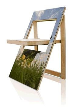 Dit schilderij is een praktische altijd-bij-de-hand-klapstoel. - Dit is de PicChair, een vriend kreeg deze bij Ik Hou Van Holland, wordt zaterdag uitgezonden!