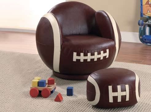 The Kids Sports Chair Collection Chair and Ottoman For Sports Fanatics