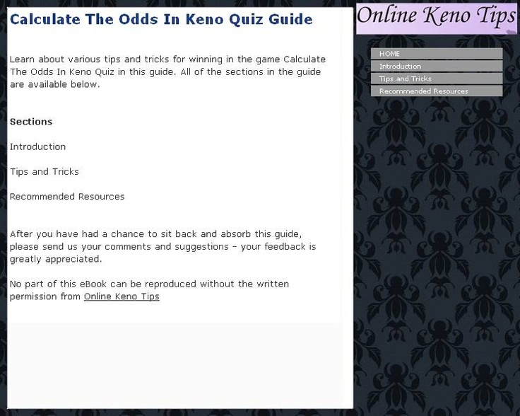 keno game tricks