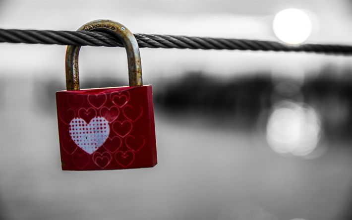 Download wallpapers Castle with a heart, ared lock, rope, love forever concepts, Valentines Day