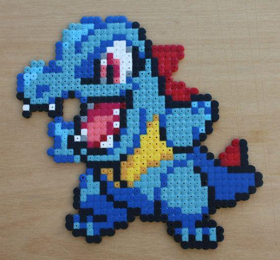Totodile Pokemon Hama Perler Bead Sprite by StrepiePixelCrafts