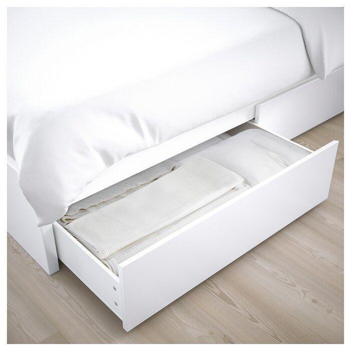 Bed Boxes Frame4 High Ikea Malm Storage White In 2020 Malm Bett Verstellbare Betten Bett Mit Aufbewahrung