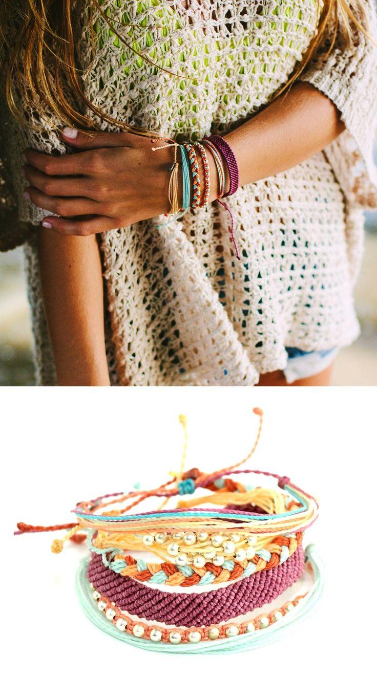 Love the look of stacked Pura Vida bracelets.